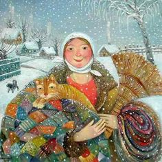 Winter, cat and snow in fine art. Paintings with winter cat. Art And Illustration, Art Illustrations, She And Her Cat, Winter Cat, Arte Popular, Naive Art, Crazy Cat Lady, Cat Art, Art Paintings