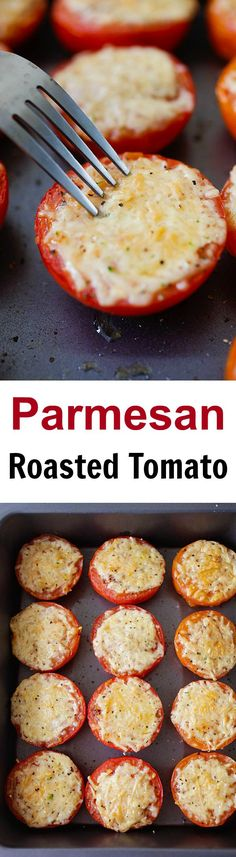 Parmesan Roasted Tomatoes – juicy and plump roasted tomatoes loaded with Parmesan cheese. So easy to make, fool-proof and amazing! | rasamalaysia.com