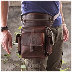 Leaokuu Mens Genuine Leather Bike Cycling Waist Hip Bum Fanny Pack Drop Leg Bag | Clothing, Shoes & Accessories, Men's Accessories, Backpacks, Bags & Briefcases | eBay!