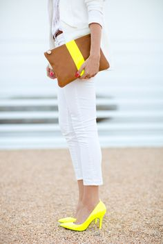 Sarah Yates looking super fly w/ her neon stripe flat clutch