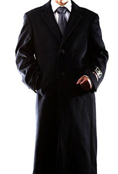 Adam Baker Mens Single Breasted Luxury Wool Full Length Topcoat Available in Colors