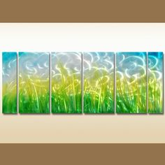 6 Panels Nature Multi Canvas Framed Art #Art #Artwork #Canvas #CanvasArt #Field #Framed #Grass #HomeDecor #Landscape #Nature #ReadyToHang