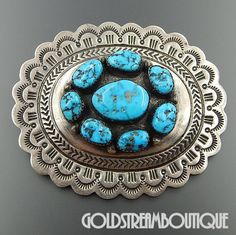 Native American Carson Blackgoat Navajo Sterling Silver Turquoise Scalop Edged Pendant Pin Combo Tribal Jewelry, Turquoise Jewelry, Indian Jewelry, Silver Jewelry, Turquoise Accessories, Navajo Jewelry, Silver Belts, Silver Ring, Silver Earrings