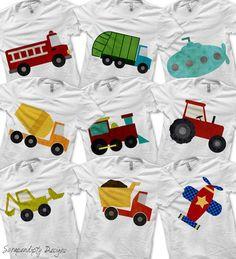 Transportation Bundle Pack - Iron on Fire Truck Shirt Digital / Boys Garbage Truck Tshirt / Transportation Birthday Party / Dump Truck by ScrapendipityDesigns, $13.50