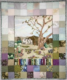 "The Old Homestead by Carol Spalding - soft edge appliqué, embroidery, silk ribbon embroidery, machine quilted, 30""x35"" 