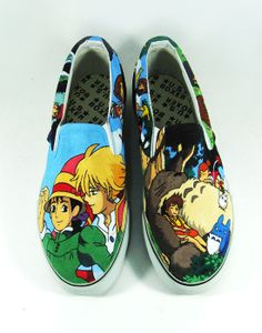 Studio Ghibli Sneaker Slip-on Painted Canvas Shoes,Slip-on Painted Canvas Shoes Painted Canvas Shoes, Hand Painted Shoes, On Shoes, Me Too Shoes, Shoe Boots, Chibi, Shoe Crafts, Cartoon Painting, Howls Moving Castle