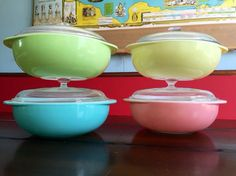 Vintage Pyrex 024 Covered Casserole Collection Pink, Aqua Blue, Lime Green and Yellow Retro