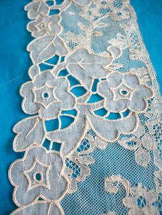 antique french hand embroidered sample piece with lace