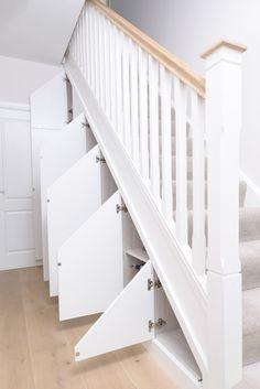 Staircase Storage, Stair Storage, Built In Storage, Under Stairs Storage Solutions, Stair Paneling, Craftsman Remodel, Sliding Door Design, Home Stairs Design, Under Stairs Cupboard