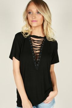 fc11d5f01310d Gotta Have It Lace Up Top In Black
