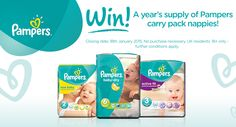 Win a year's supply of Pampers nappies