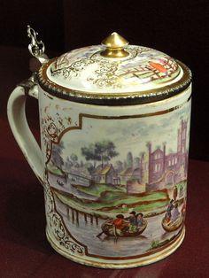 Tankard, c. 1735-1744, Du Paquier factory, hard-paste porcelain, overglaze enamels, gilding, white metal mounts - Gardiner Museum, Toronto