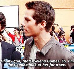 I won't ever forget when Dylan O'Brien did this during an interview. He was so in love with Selena Gomez.