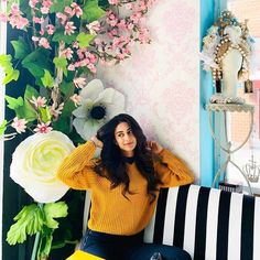 Image may contain: 2 people, plant, flower, stripes and indoor Erica Fernandes Hot, World's Cutest Girl, White Lilies, Bollywood Celebrities, Outfit Posts, Beautiful Actresses, Photography Poses, Cute Girls, Lily