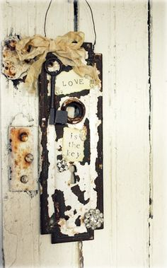 """Love Is the Key"" Vintage Weathered Door Knob Plate"