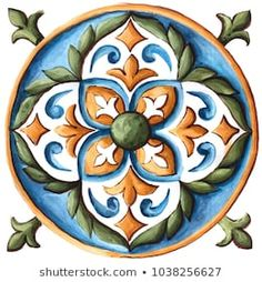 Design for ceramic tiles, majolica, watercolor ornament Moroccon Tiles, Vintage Diy, Decorative Wall Tiles, Italian Tiles, Mandala Artwork, Devian Art, Tile Crafts, Pottery Painting, Tile Painting
