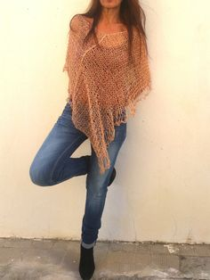 Linen knitted poncho, nude shawl, nude linen wrap. EstherTg