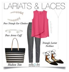 """Hot this season: laces, lariat S and ear climbers! A great work week outfit!"" by cathy-bartlett on Polyvore featuring Dolce&Gabbana, MANGO and Stella & Dot"