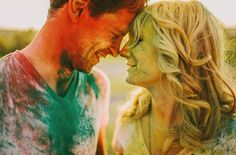 What amazing shots! Gorgeous couple too.  An Engagement Session with Holi Powder