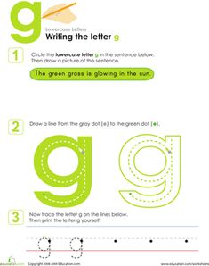 Grab a pencil and get started writing the lowercase letter g with your kindergartener or preschooler.