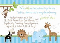 Boy Jungle Baby Shower Invitation 4x6 or 5x7 digital you print your own- Design 40. $8.00, via Etsy.