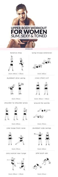 Upper Body Workout For Women Get your arms, shoulders, back and chest ready for tank top season with this upper body workout. A 20 minute routine for a slim, sexy and toned upper body. Fitness Workouts, At Home Workouts, Fitness Tips, Fitness Motivation, Workout Routines, Body Workouts, Workout Abs, Training Workouts, Cardio Workouts