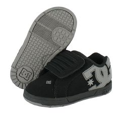 DC Skate Shoes: COURT GRAFFIK VELCRO 2 WIDE BLACK/BATTLESHIP/BLACK