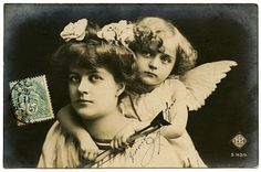 Old Photo – Adorable Cupid with Woman
