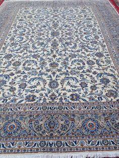 Vintage Handmade Persian Wool Rug White and Blue Kashan Genuine Oriental Rug