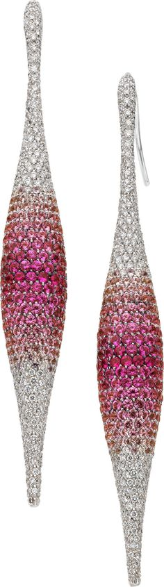 Palmiero: Pink Sapphire, Diamond, White Gold Earrings on Heritage Auctions