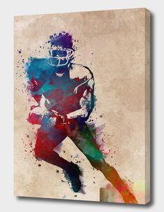 American football player 1 digital art Wood Print by Justyna Jaszke JBJart Soccer Art, Football Art, Sport Football, Football Paintings, Basement Colors, American Football Players, Canvas Prints, Art Prints, Wood Print