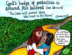God's Hedge of Protection... A free Printable Coloring Sheet of this picture (and many more) is available on: www.facebook.com/TheGoodNewsCartoon #Coloring sheets