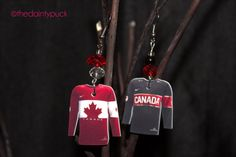 Team Canada 2014 Olympic Jersey Earrings (Sochi) by thedaintypuck