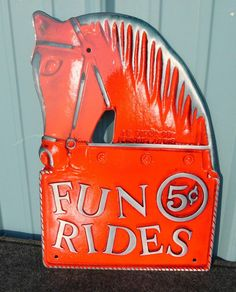 Fun Rides 5 cents...Vintage Carnival Sign