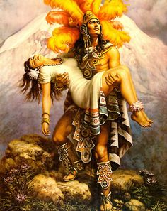 The Legend of Popo & Itza: The Story Behind The Image Of The Warrior & The Maiden Aztec Warrior Tattoo, Jesus Helguera, Aztecas Art, Mayan Tattoos, Mexican Artwork, Aztec Tattoo Designs, Castle Tattoo, Aztec Culture, Girl Arm Tattoos