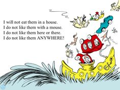 green eggs and ham book Dr Seuss Illustration, Green Eggs And Ham, Book Layout, Book Themes, Childrens Books, Snoopy, Clip Art, Image, August 12