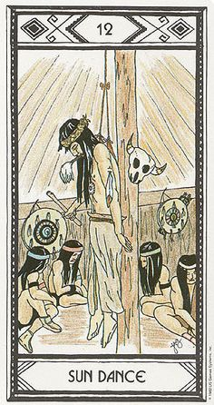 XII. The Hanged Man (Sun Dance) - Native American Tarot by Magda Weck Gonzales