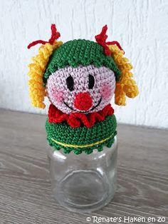 Gratis haak patroon potje Clown met krulletjes / free crochet pattern jar clown with curls Hand Crochet, Crochet Hooks, Free Crochet, Baby Blanket Crochet, Crochet Baby, Crochet Embellishments, Boyfriend Crafts, Crochet Patterns For Beginners, Valentine's Day Diy