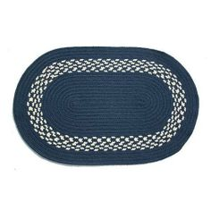 Oval Braided Rug (2'x4'): Navy,- Navy & Cream Band by Stroud Braided Rugs. $69.00. Durable, high-quality, long-lasting material. Reversible and fade resistant (color goes all the way through each fiber, not just on top). Indoor or outdoor use on any surface (wood, tile, brick, etc). Stain resistant and machine washable (lay flat to dry). Hand-crafted in North Carolina. This high-quality rug is hand-crafted by American workers at Stroud Braided Rugs - a family-owned business l...