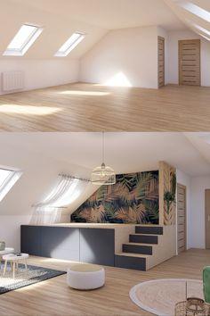 A platform to win in place and in storage Attic Spaces, Small Spaces, Home Room Design, House Design, Bedroom Plants Decor, Deco Studio, Interior Architecture, Interior Design, House Windows