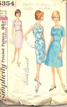 Vintage 1960's Women's Dress Pattern, Simplicity 5354 Sewing Pattern, Size 40