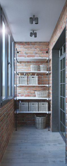 Квартира с элементами LOFT, кирпич в интерьере,  дизайн-проект удаленно, оформление балкона, красивая лоджия