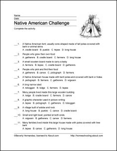 Native Americans of North America Printables: Native American Challenge