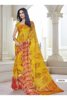 Ethnic Wear Yellow Marble Gerogette Saree  - BELA-12333-B