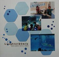 レイアウトのご紹介 『カードストックonlyレイアウト』 - 楽しくスクラップブッキング@岐阜&愛知 Scrapbook Borders, Family Album, Creative Memories, Sea World, Layouts, Concept, Frame, Photography, Pictures