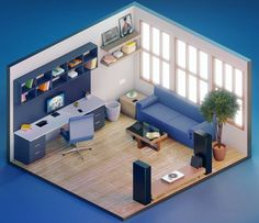 Work Room by Sudeep Singh Bg Design, 3d Interior Design, Interior Architecture, Isometric Art, Isometric Design, Small Game Rooms, Narrow House Designs, Pastel Room, Video Game Rooms