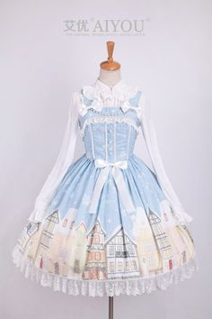 Restocked: Aiyo Lolita ❤☃❅~Snow Town~❅☃❤ Lolita Jumper Dress >>> http://www.my-lolita-dress.com/aiyo-lolita-snow-town-lolita-jumper-dress
