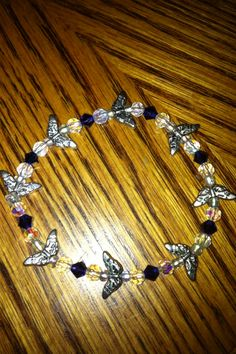 Bracelet with butterfly & crystal beads