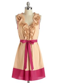 Best Rosette to Come Dress by Ryu - Tan, Pink, Buttons, Ruffles, Belted, Party, A-line, Sleeveless, V Neck, Mid-length, Pleats.