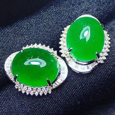 Jadeite earrings with diamonds